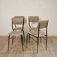 Set of Four Midcentury Italian Metal and Leather Dining Chairs - 636603