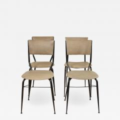 Set of Four Midcentury Italian Metal and Leather Dining Chairs - 637747