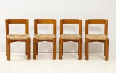 Set of Four Modernist Italian Oak and Straw Chairs - 1812310
