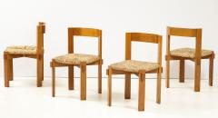 Set of Four Modernist Italian Oak and Straw Chairs - 1812311