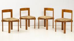 Set of Four Modernist Italian Oak and Straw Chairs - 1812312