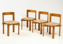 Set of Four Modernist Italian Oak and Straw Chairs - 1812313