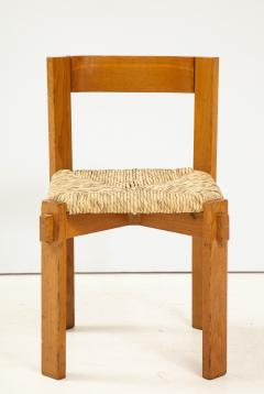 Set of Four Modernist Italian Oak and Straw Chairs - 1812314