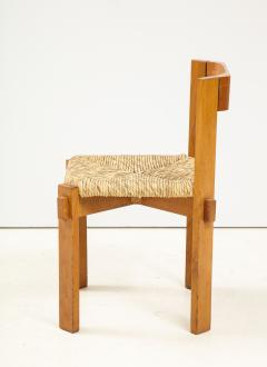 Set of Four Modernist Italian Oak and Straw Chairs - 1812316