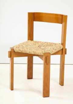 Set of Four Modernist Italian Oak and Straw Chairs - 1812317