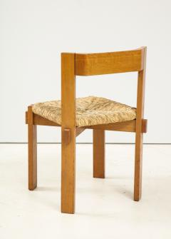 Set of Four Modernist Italian Oak and Straw Chairs - 1812319