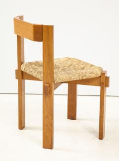 Set of Four Modernist Italian Oak and Straw Chairs - 1812321