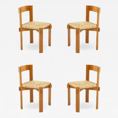 Set of Four Modernist Italian Oak and Straw Chairs - 1813682