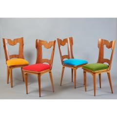 Set of Four Sculptural Chairs Italy 1950s - 1258634
