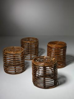 Set of Four Wicker Stools - 1245711