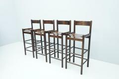 Set of Four Wood Bar Stools 1970s - 1775078