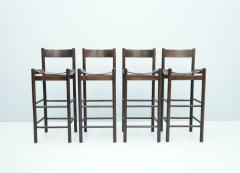 Set of Four Wood Bar Stools 1970s - 1775079