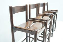 Set of Four Wood Bar Stools 1970s - 1775081
