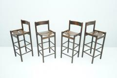 Set of Four Wood Bar Stools 1970s - 1775083