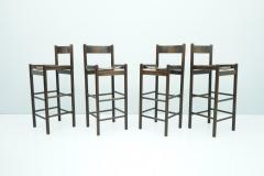 Set of Four Wood Bar Stools 1970s - 1775084