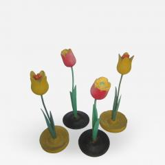Set of Four Wood Flowers - 477007