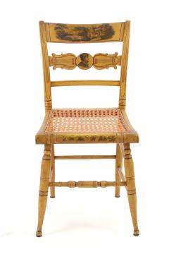 Set of Four Yellow Fancy Chairs with Portrait of Benjamin Franklin c 1820 - 1348022
