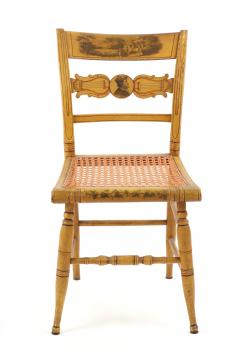Set of Four Yellow Fancy Chairs with Portrait of Benjamin Franklin c 1820 - 1348024