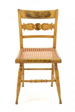 Set of Four Yellow Fancy Chairs with Portrait of Benjamin Franklin c 1820 - 1348026