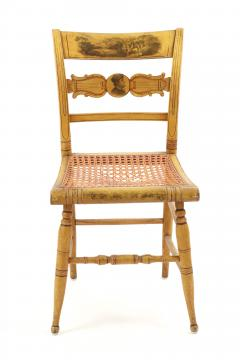 Set of Four Yellow Fancy Chairs with Portrait of Benjamin Franklin c 1820 - 1348028