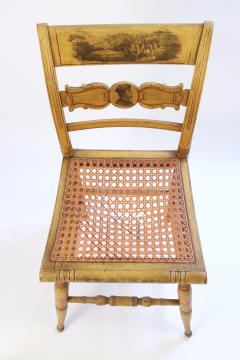Set of Four Yellow Fancy Chairs with Portrait of Benjamin Franklin c 1820 - 1348029