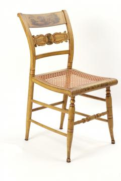 Set of Four Yellow Fancy Chairs with Portrait of Benjamin Franklin c 1820 - 1348038