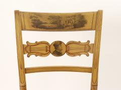 Set of Four Yellow Fancy Chairs with Portrait of Benjamin Franklin c 1820 - 1348039