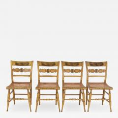 Set of Four Yellow Fancy Chairs with Portrait of Benjamin Franklin c 1820 - 1349419