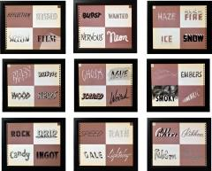 Set of Nine Framed American Typography Pages From New Letters Lettering - 1772362