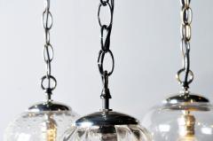Set of Seven Hand Blown Glass Pendant Light Fixture - 666426