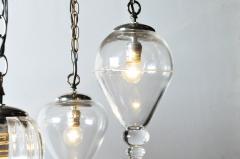 Set of Seven Hand Blown Glass Pendant Light Fixture - 666427