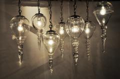 Set of Seven Hand Blown Glass Pendant Light Fixture - 666430