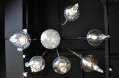 Set of Seven Hand Blown Glass Pendant Light Fixture - 666432