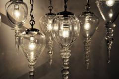 Set of Seven Hand Blown Glass Pendant Light Fixture - 666435