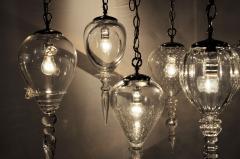 Set of Seven Hand Blown Glass Pendant Light Fixture - 666436