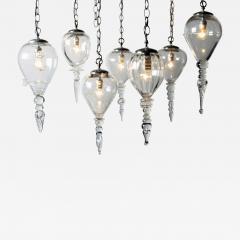Set of Seven Hand Blown Glass Pendant Light Fixture - 667913