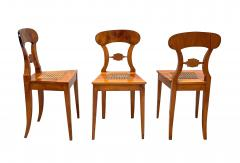 Set of Six Biedermeier Board Chairs Cherry Veneer Mesh Austria circa 1830 - 1103889