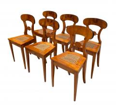 Set of Six Biedermeier Board Chairs Cherry Veneer Mesh Austria circa 1830 - 1103890