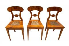 Set of Six Biedermeier Board Chairs Cherry Veneer Mesh Austria circa 1830 - 1103891