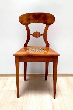 Set of Six Biedermeier Board Chairs Cherry Veneer Mesh Austria circa 1830 - 1103895