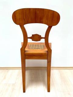 Set of Six Biedermeier Board Chairs Cherry Veneer Mesh Austria circa 1830 - 1103899