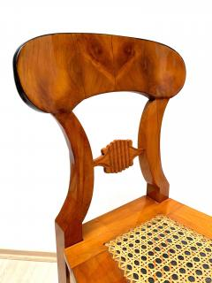 Set of Six Biedermeier Board Chairs Cherry Veneer Mesh Austria circa 1830 - 1103900