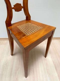 Set of Six Biedermeier Board Chairs Cherry Veneer Mesh Austria circa 1830 - 1103901