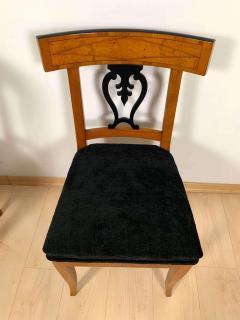 Set of Six Biedermeier Chairs Cherry Veneer and Ash Roots Germany circa 1820 - 1576768