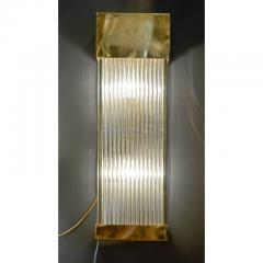 Set of Six Brass and Glass Rods Rectangle Wall Sconces - 736095