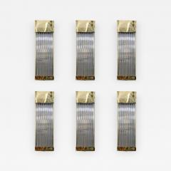 Set of Six Brass and Glass Rods Rectangle Wall Sconces - 736313