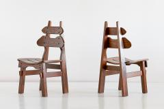 Set of Six Brutalist Dining Chairs in Solid Oak Spain 1970s - 1343478