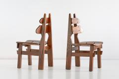 Set of Six Brutalist Dining Chairs in Solid Oak Spain 1970s - 1343481