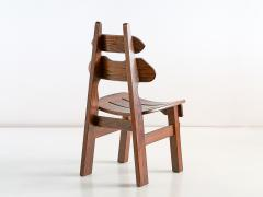 Set of Six Brutalist Dining Chairs in Solid Oak Spain 1970s - 1343483