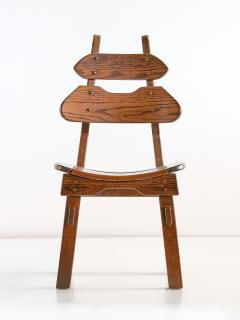 Set of Six Brutalist Dining Chairs in Solid Oak Spain 1970s - 1343485